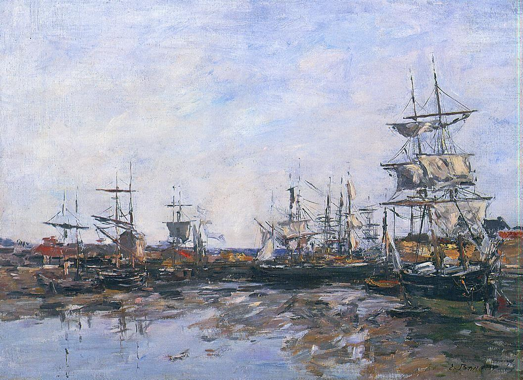 Trouville, the Port at Low Tide - Eugene Boudin
