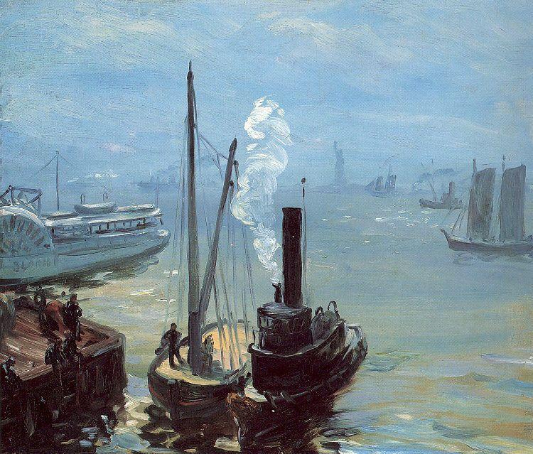 Tugboat and Lighter - William James Glackens