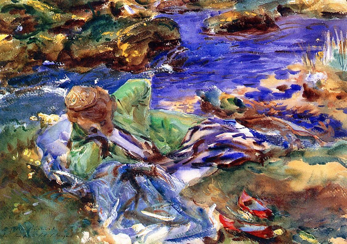 Turkish Woman by a Stream - John Singer Sargent