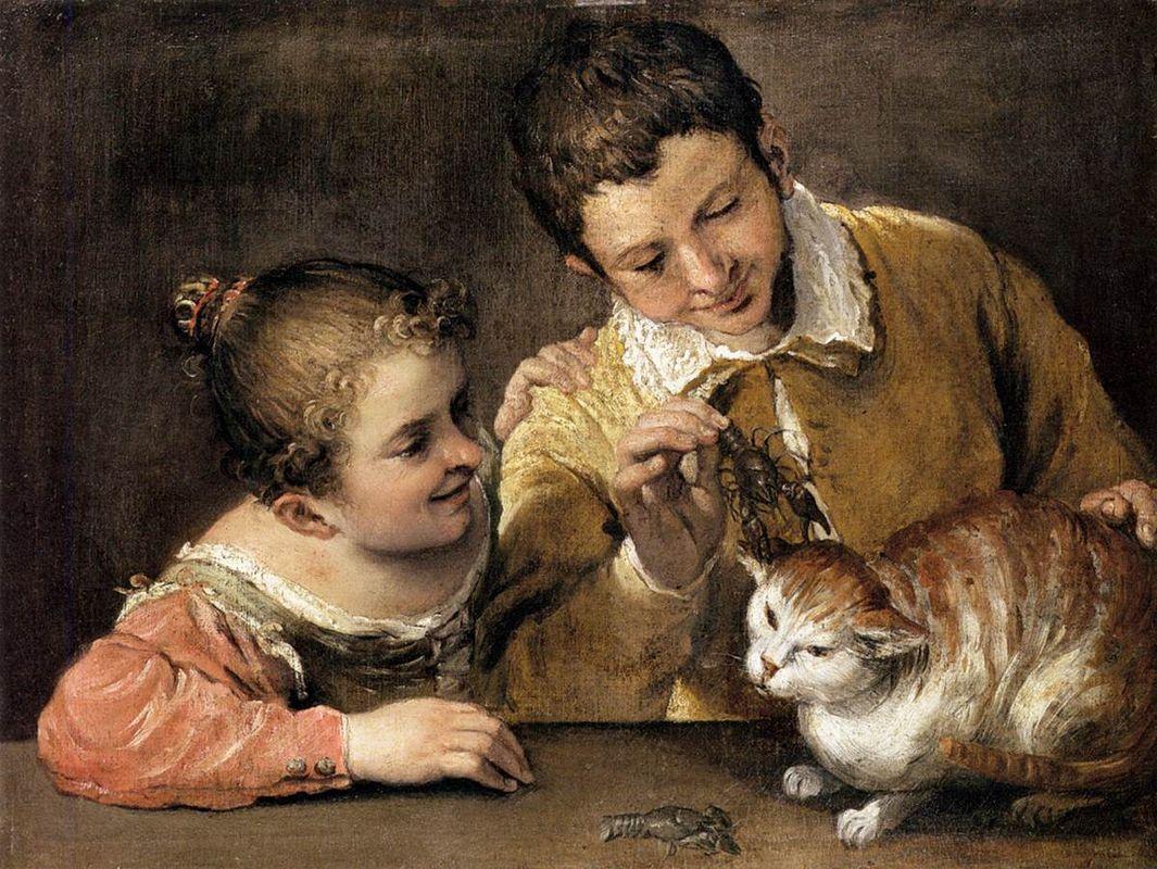 Two Children Teasing a Cat - Annibale Carracci