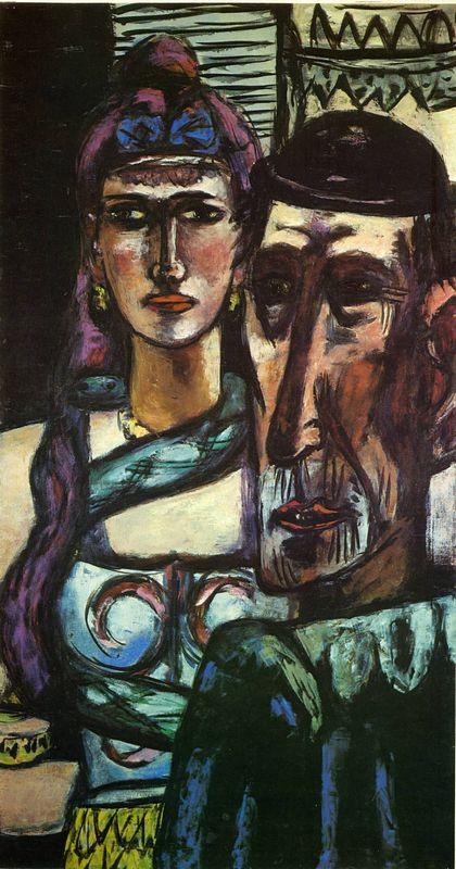 Two Circus Artists or Snake Charmer and Clown - Max Beckmann