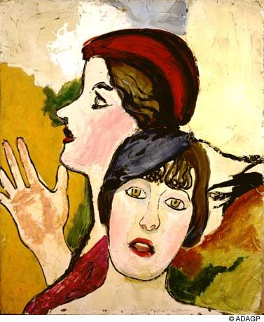 Two female heads in profile - Jean Dubuffet