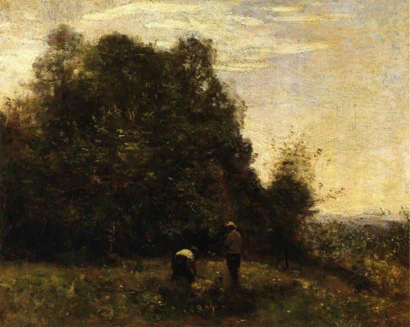 Two Figures Working in the Fields - Camille Corot