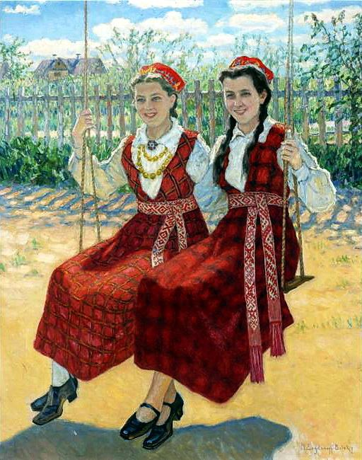 Two Girls On A Swing - Nikolay Bogdanov-Belsky