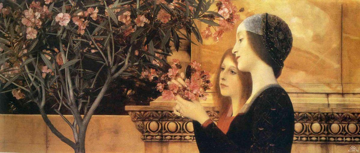 Two Girls With An Oleander - Gustav Klimt