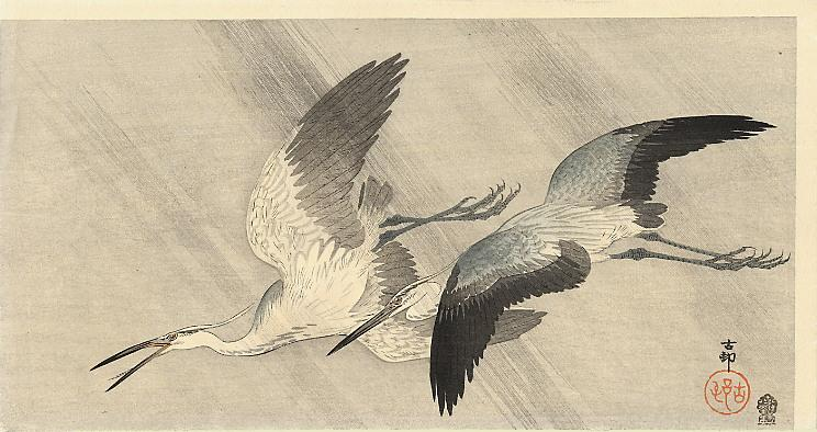 Two herons in flight - Ohara Koson