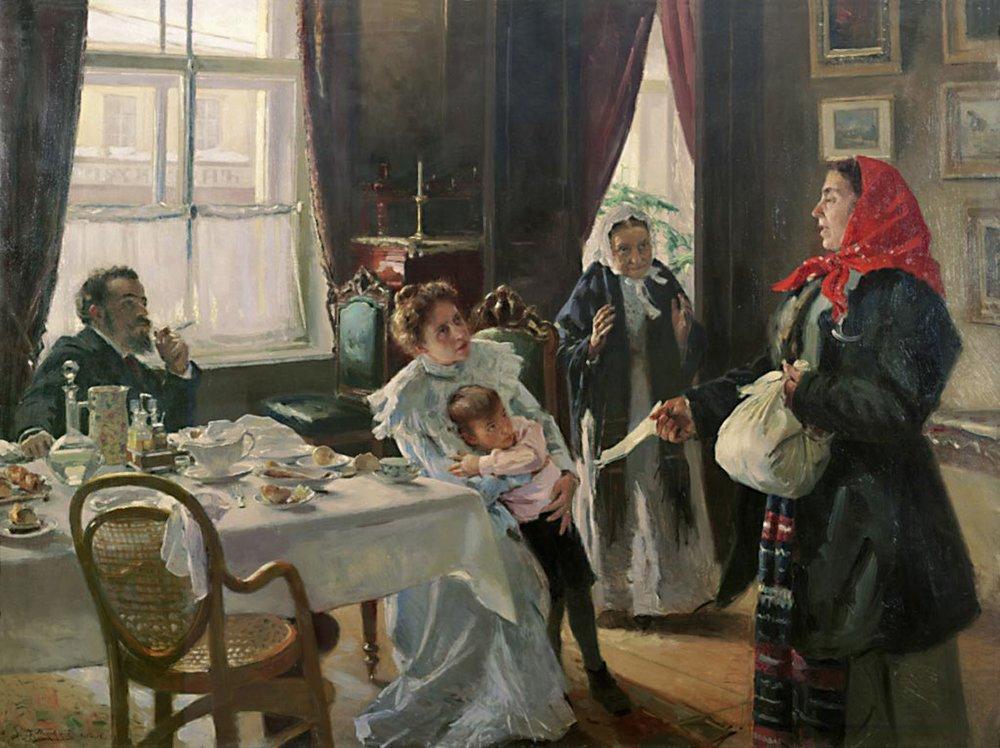 Two mothers. Native mother and stepmother. - Vladimir Makovsky