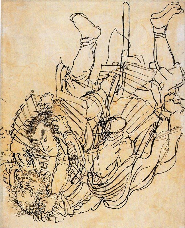 Two opponents in underwater fight - Utagawa Kuniyoshi