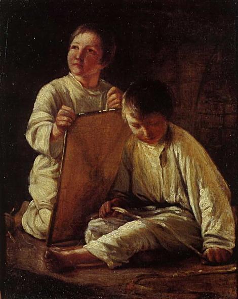 Two Peasant Boy with a kite - Alexey Venetsianov