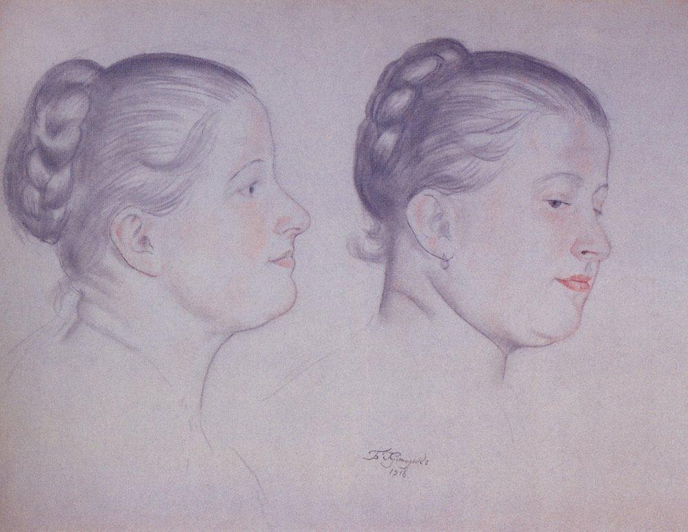 Two portraits of Annushka - Boris Kustodiev