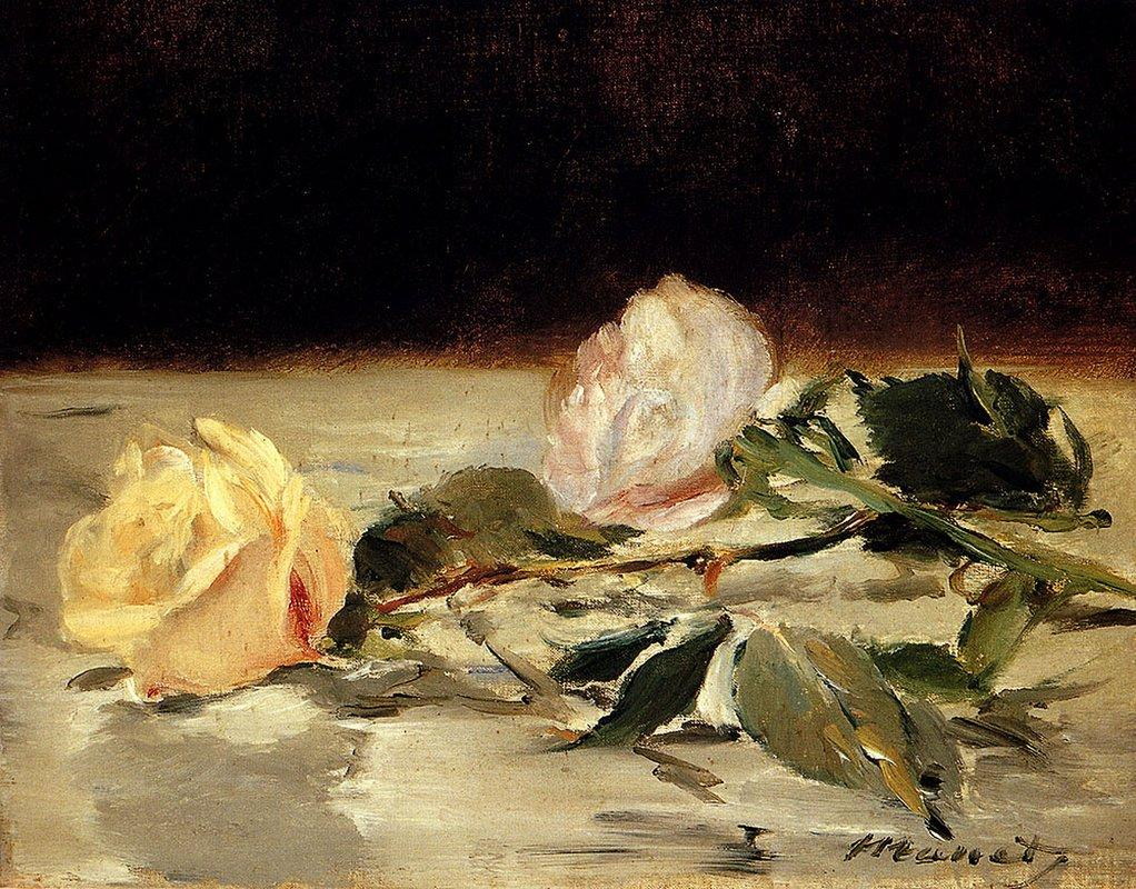 Two roses on a tablecloth - Edouard Manet