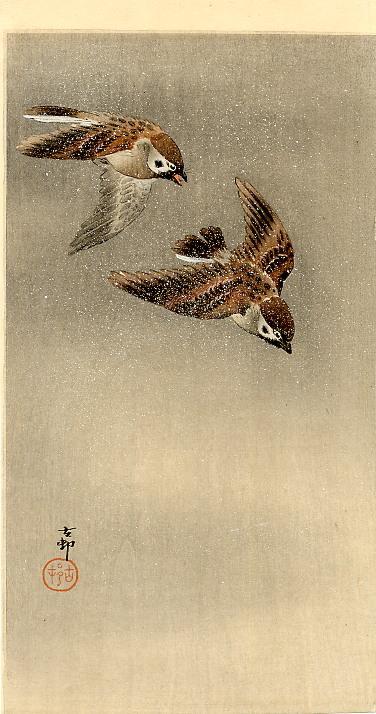 Two sparrows in flight - Ohara Koson