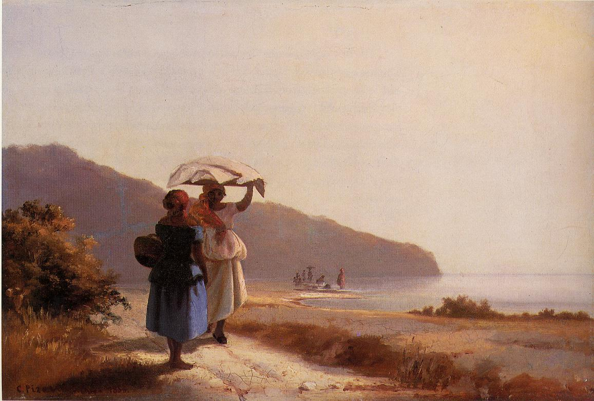 Two Woman Chatting by the Sea, St. Thomas - Camille Pissarro