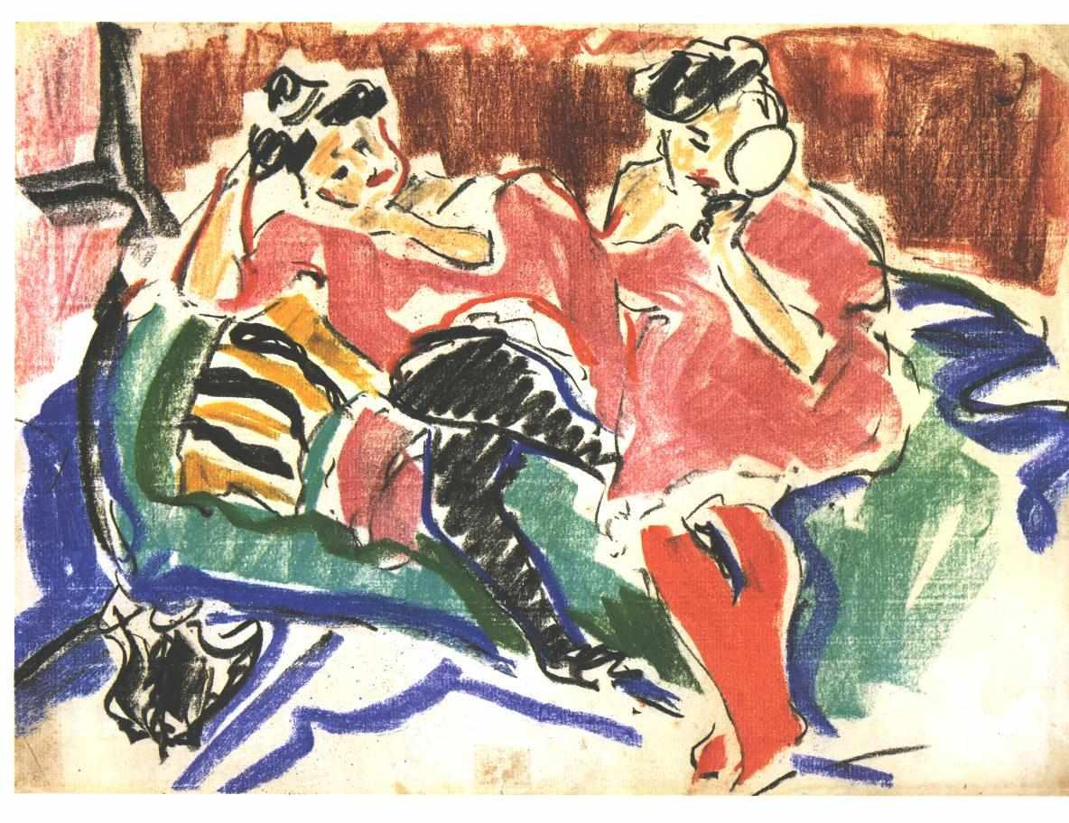 Two Women at a Couch - Ernst Ludwig Kirchner