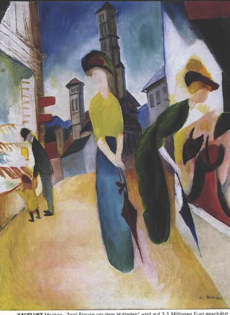 Two women in front of a hat shop - August Macke