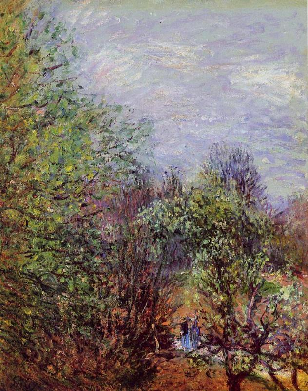 Two Women Walking along the riverbank - Alfred Sisley