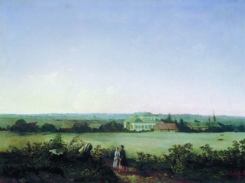 Type in the outskirts of Moscow to the manor and two female figures - Aleksey Savrasov