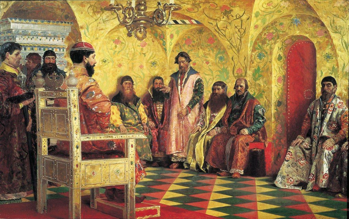 Tzar Mikhail Fedorovich Holding Council with the Boyars in His Royal Chamber - Andrei Ryabushkin