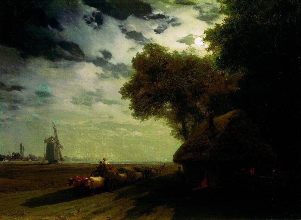 Ukrainian landscape with chumaks in the moonlight - Ivan Aivazovsky