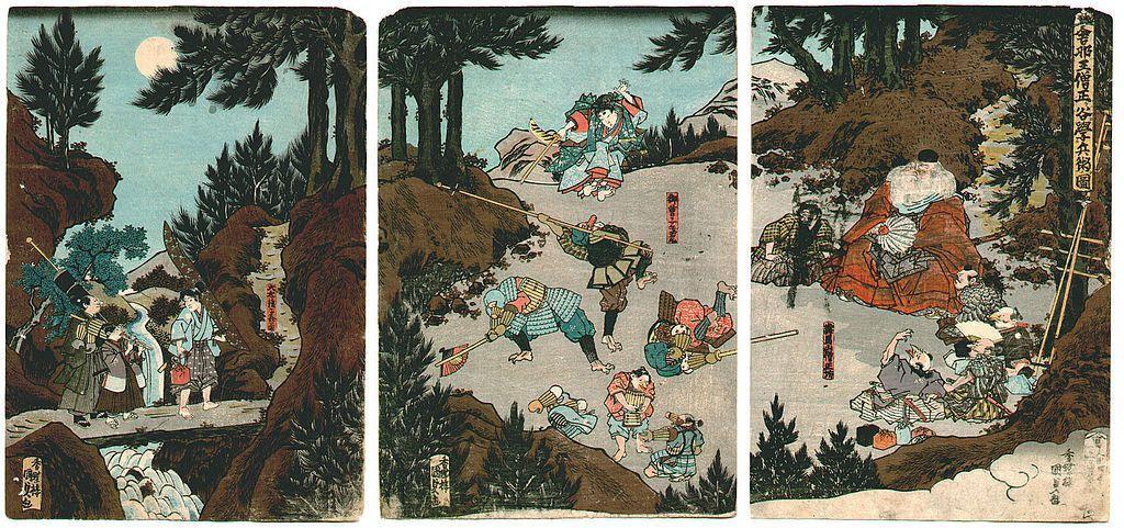 Ushiwaka-maru training with the tengu - Utagawa Kunisada II