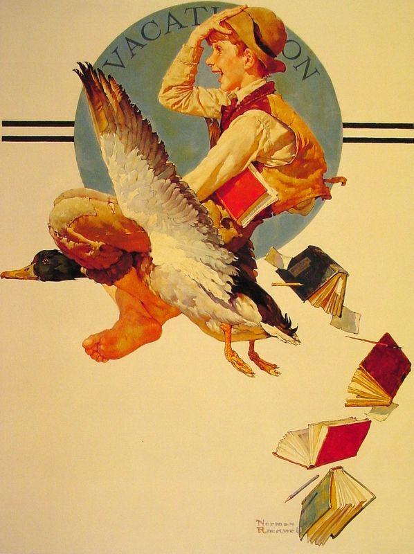 Vacation Boy riding a Goose - Norman Rockwell