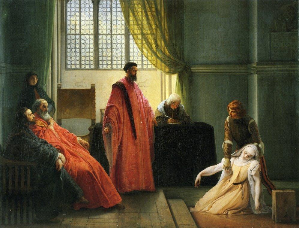 Valenza Gradenigo before the Inquisitor - Francesco Hayez