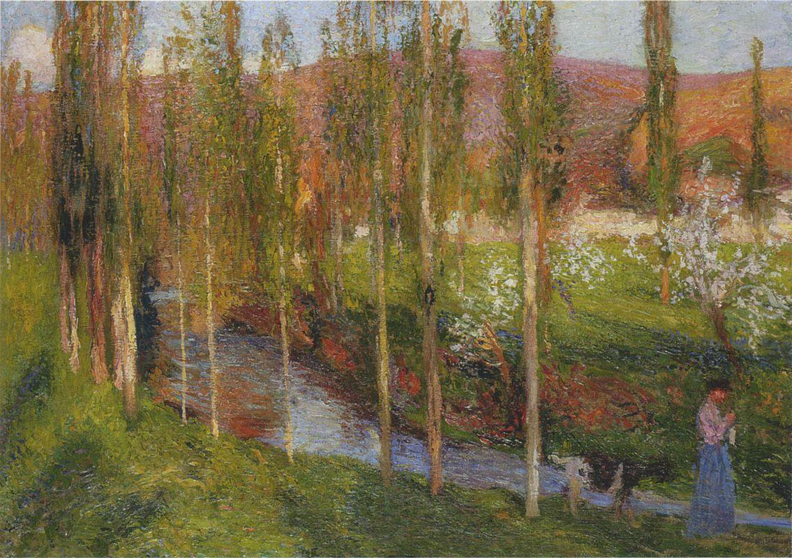 Valle du Vert with Shepherdess - Henri Martin