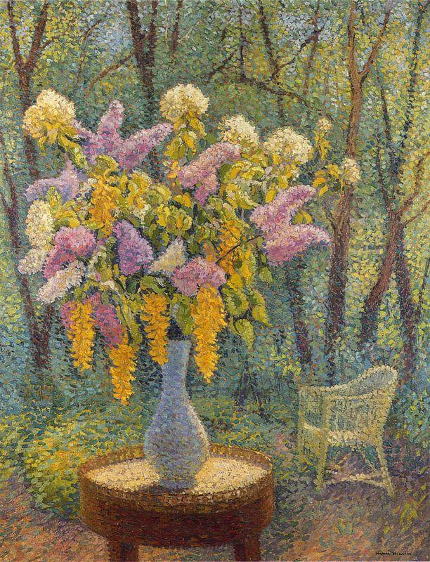 Vase of Flowers in a Garden - Henri Martin