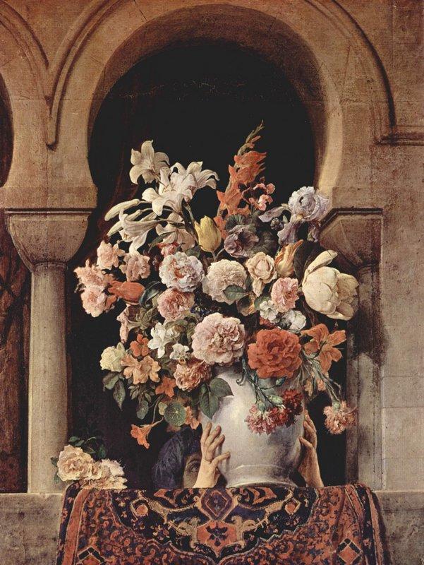 Vase of Flowers on the Window of a Harem  - Francesco Hayez