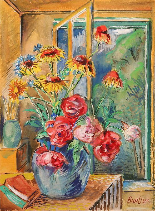 Vase with red and yellow flowers - David Burliuk