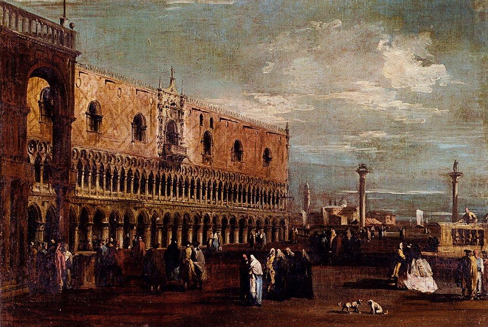 Venice, a View of the Piazzetta Looking South with the Palazzo Ducale - Francesco Guardi