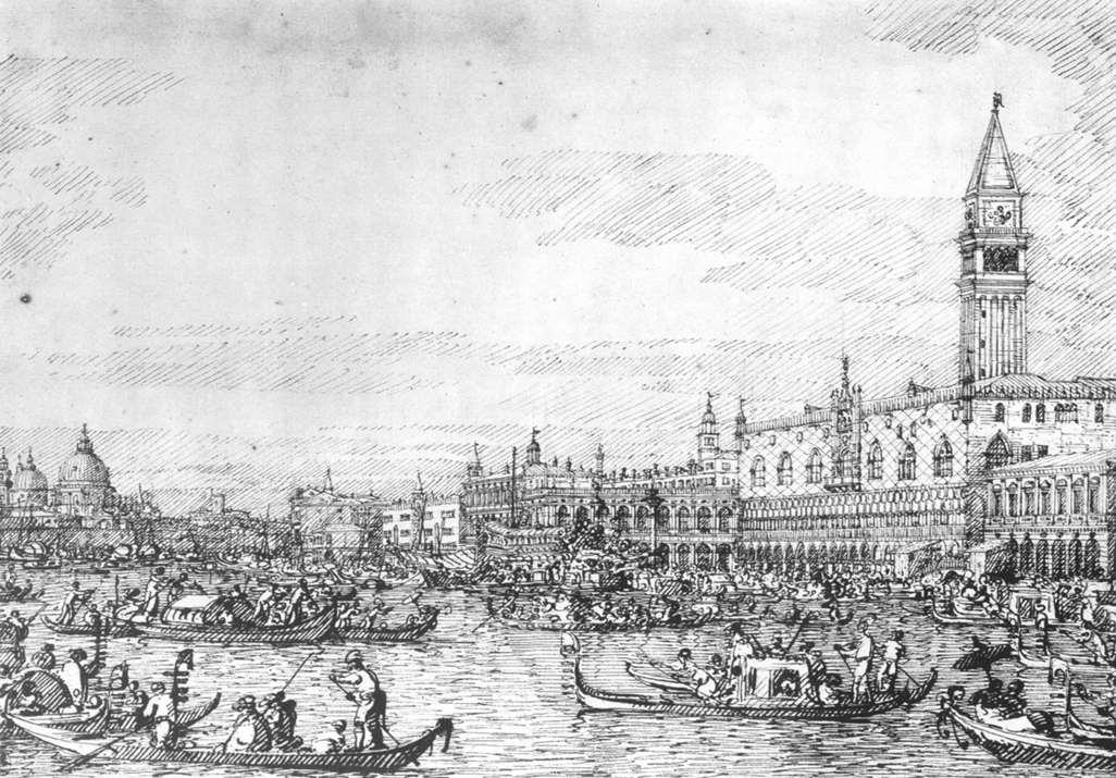 Venice: The Canale di San Marco with the Bucintoro at Anchor - Canaletto