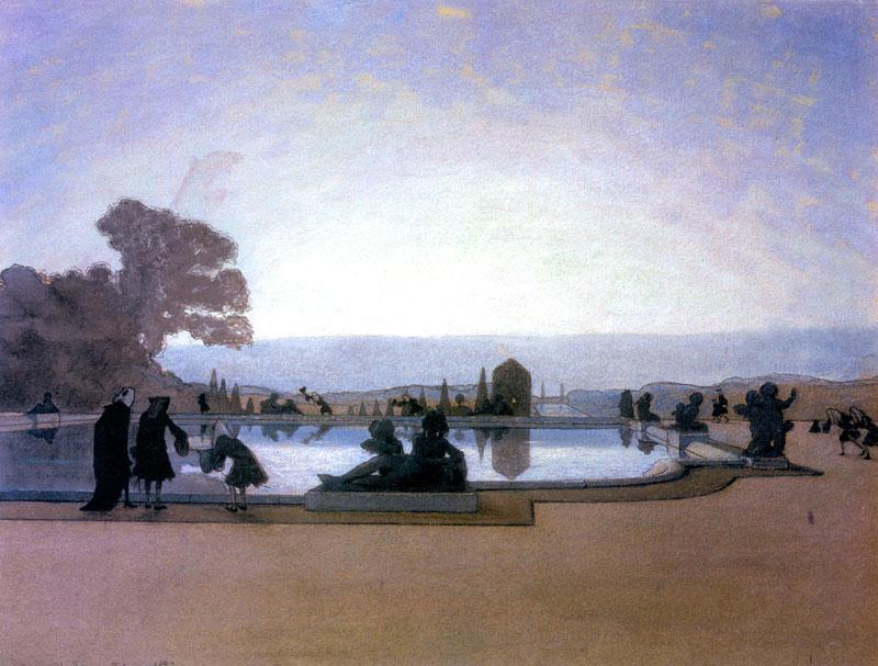 Versailles. Louis XIV is feeding fish - Alexandre Benois