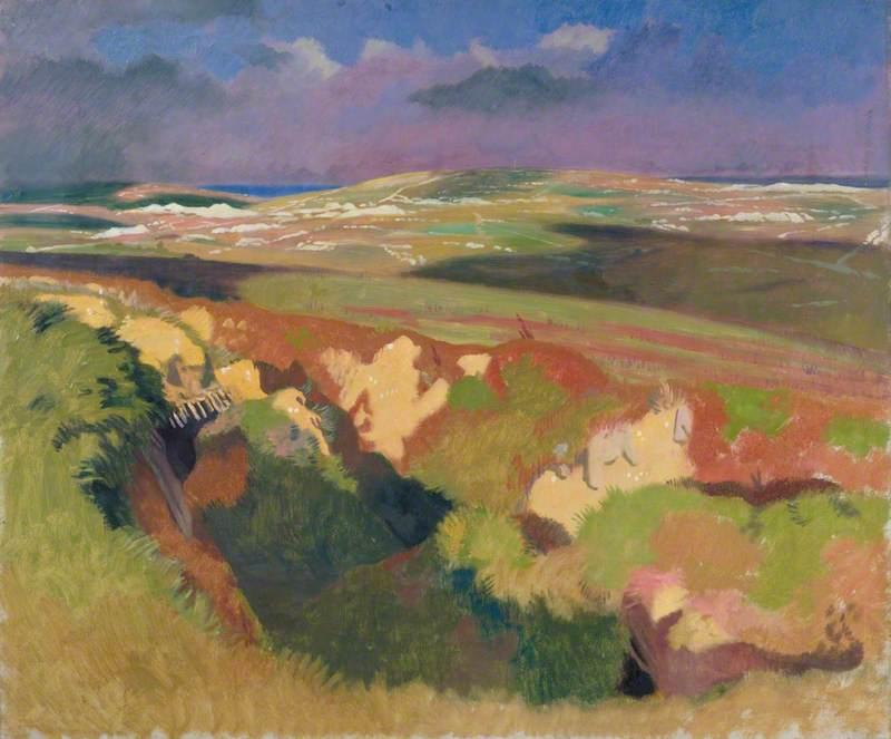 View from the Old British Trenches- Looking towards La Boisselle, Courcelette on the Left, Martinpuich on the Right 1917 - William Orpen