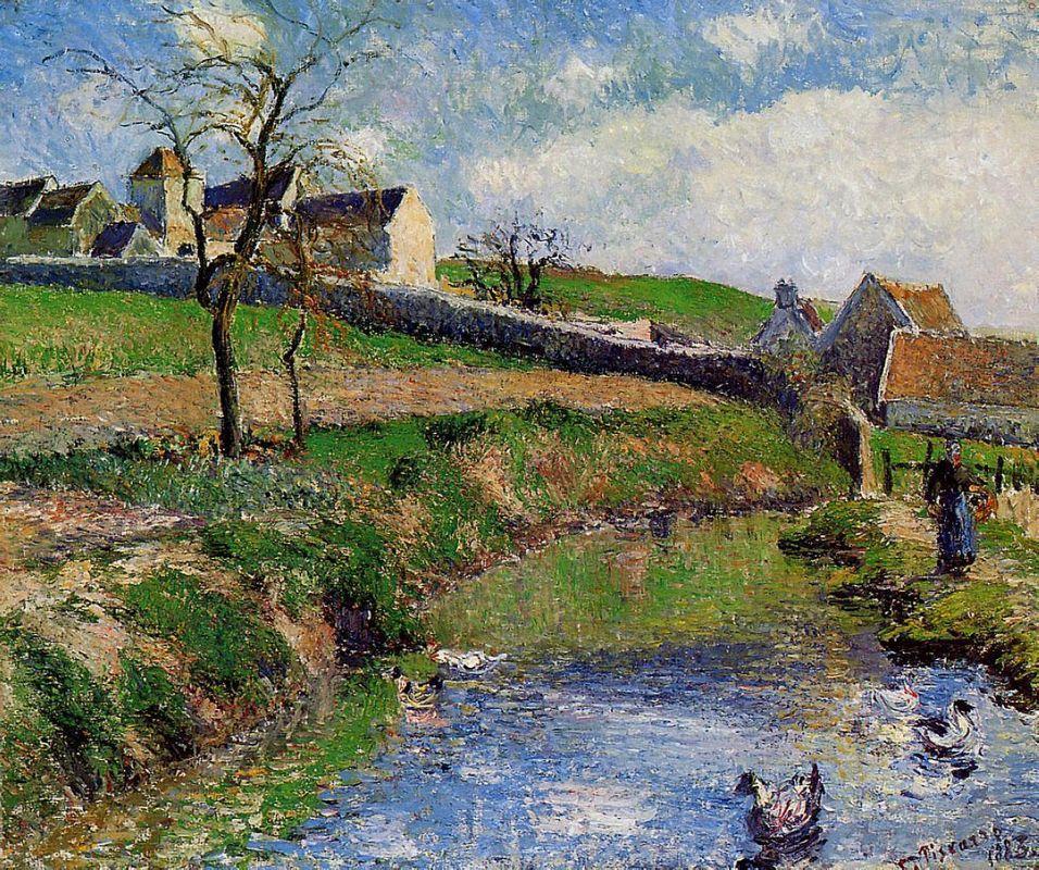 View of a Farm in Osny - Camille Pissarro