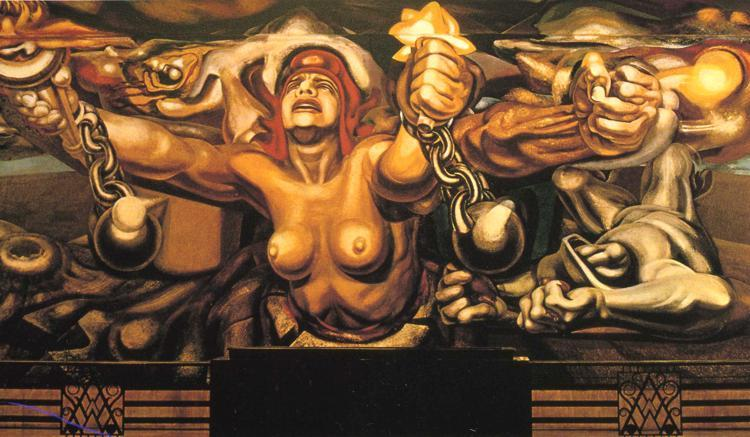 View of a mural depicting Democracy breaking her chains - David Alfaro Siqueiros