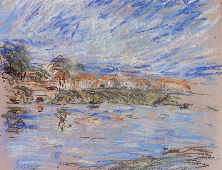 View of a Village by a River - Alfred Sisley