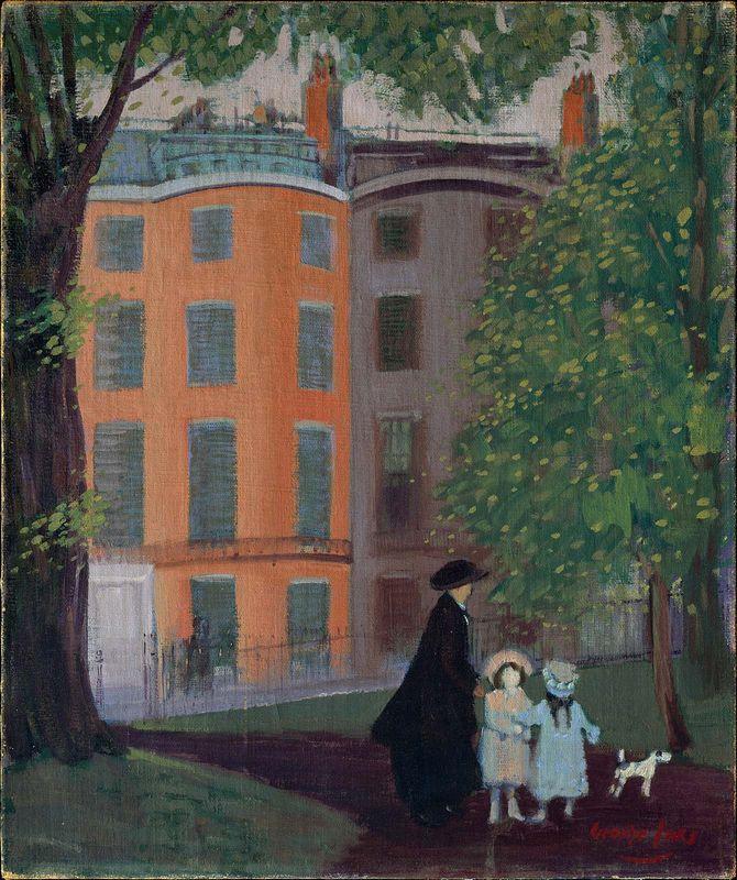 View of Beacon Street from Boston Common - George Luks