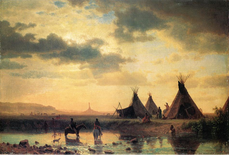 View of Chimney Rock, Ogalillalh Sioux Village in Foreground - Albert Bierstadt