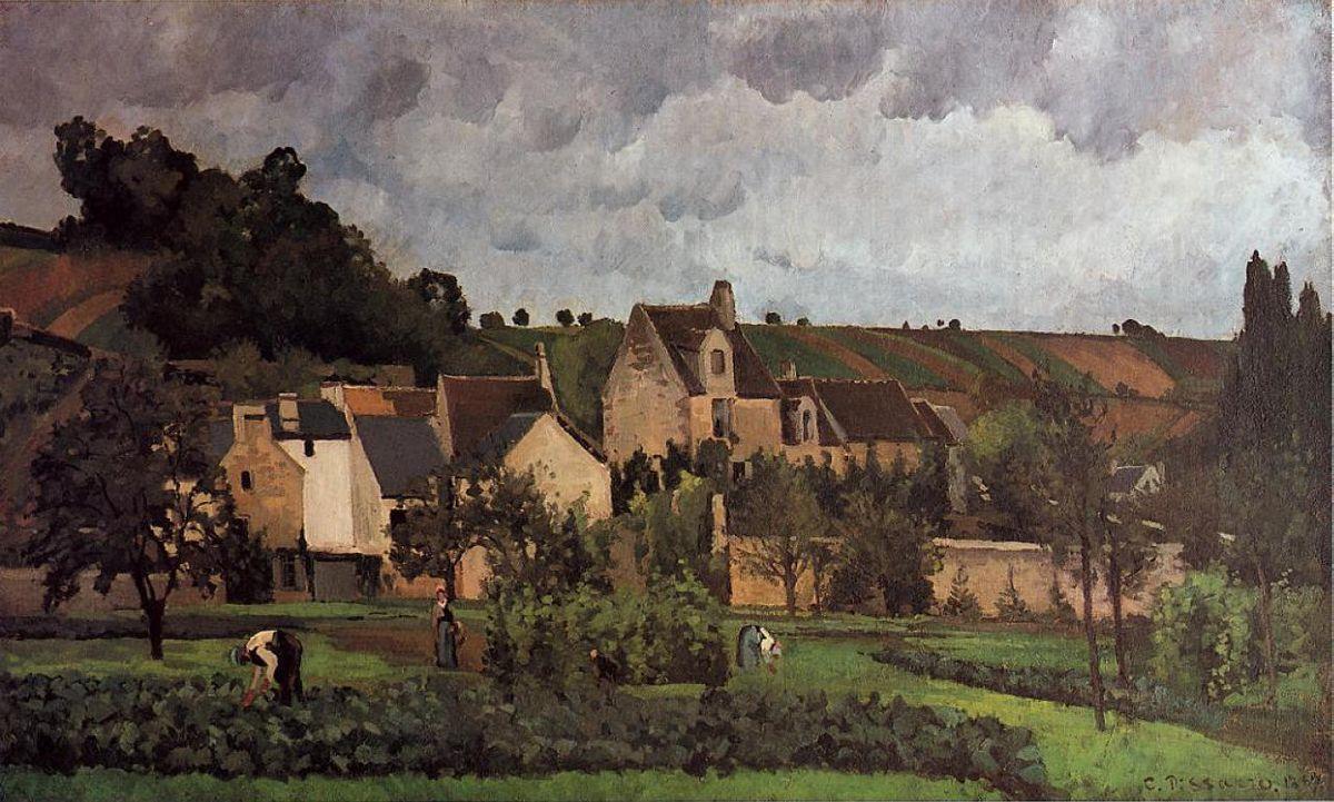 View of l'Hermitage at Pontoise - Camille Pissarro