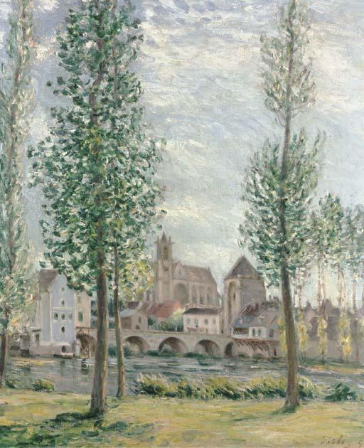 View of Moret sur Loing through the Trees - Alfred Sisley