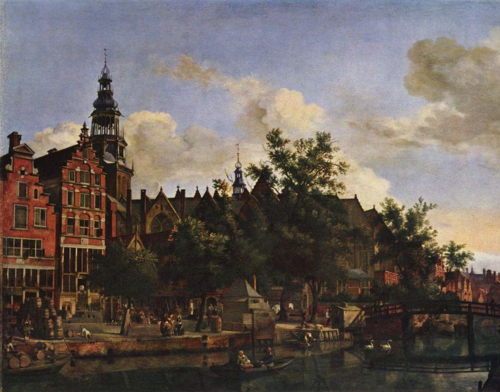 View of Oudezijds Voorburgwal with the Oude Kerk in Amsterdam - Adriaen van de Velde
