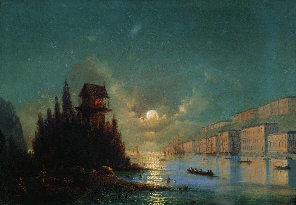View of seaside town in the evening with a lighthouse - Ivan Aivazovsky