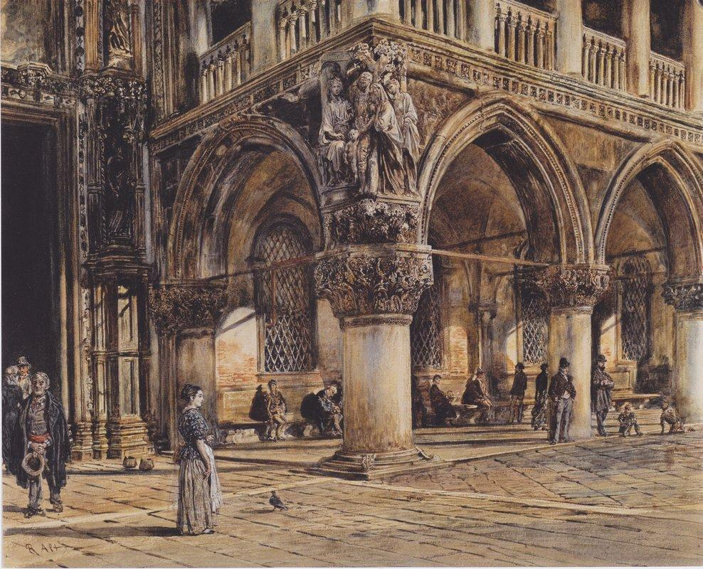 View of the Ducal Palace in Venice - Rudolf von Alt