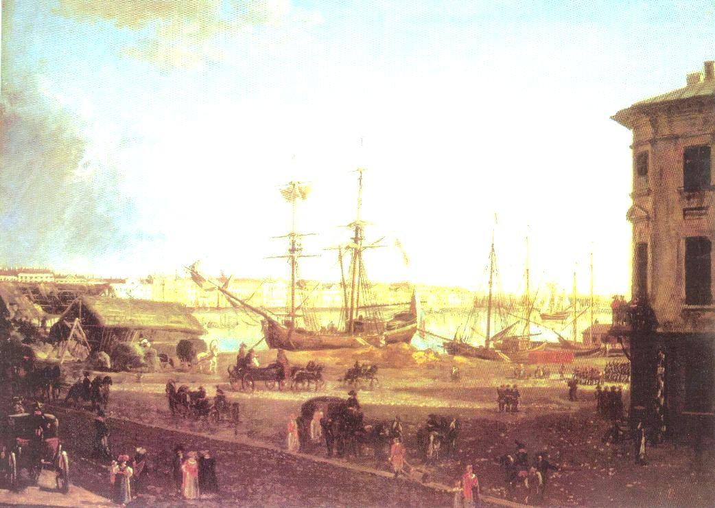 View of the English Embankmant from Visilievsky Island in St. Petersburg - Fyodor Alekseyev
