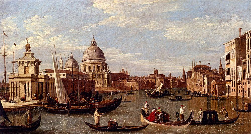 View Of The Grand Canal And Santa Maria Della Salute With Boats And Figures In The Foreground, Venice - Canaletto