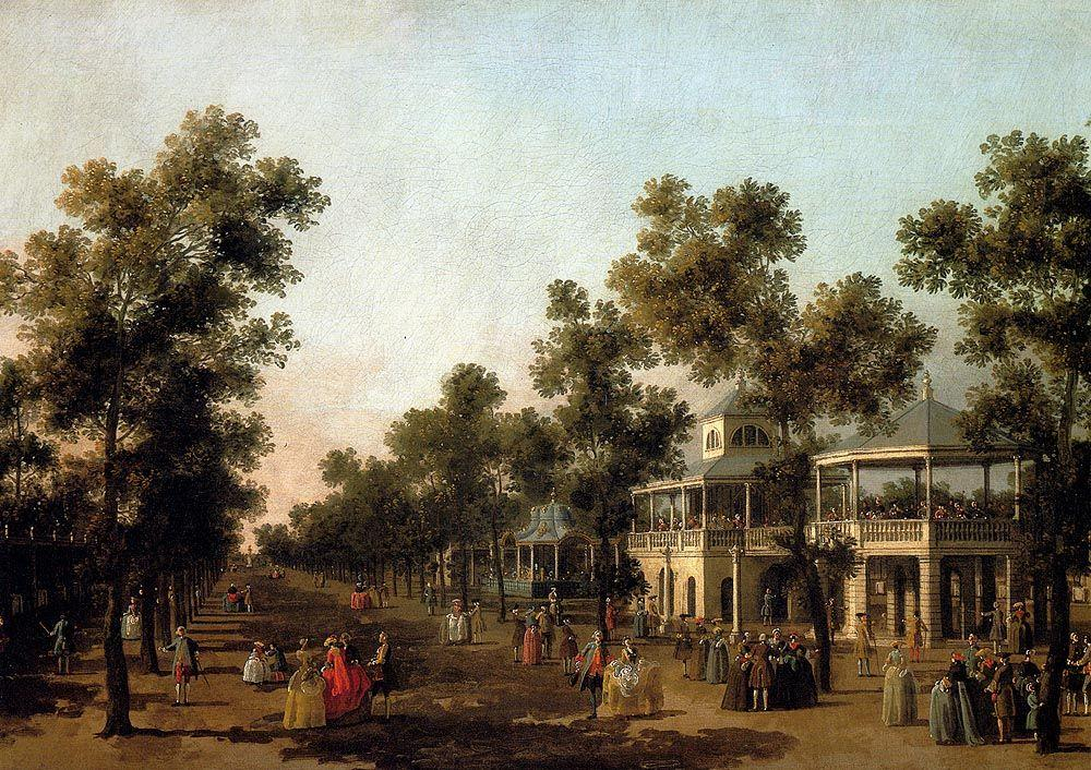 View Of The Grand Walk, vauxhall Gardens, With The Orchestra Pavilion, The Organ House, The Turkish Dining Tent And The Statue Of Aurora - Canaletto