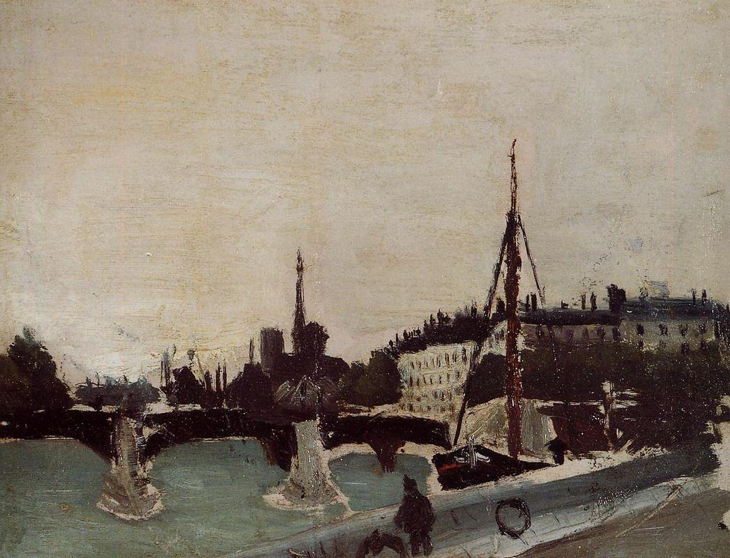View of the Ile Saint Louis from the Quai Henri IV Study - Henri Rousseau