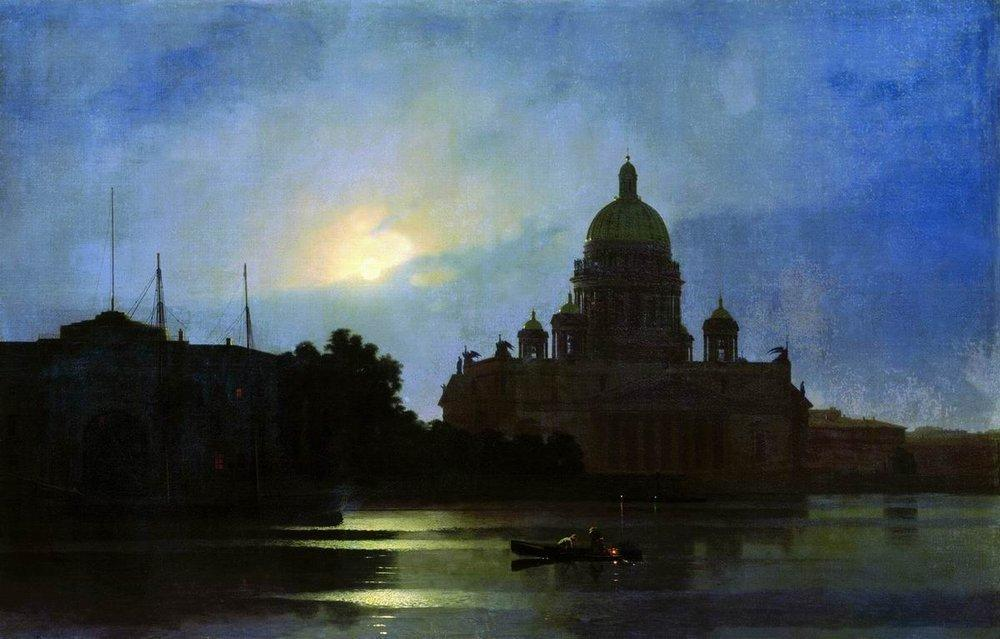 View of the Isaac Cathedral at Moonlight Night - Arkhip Kuindzhi
