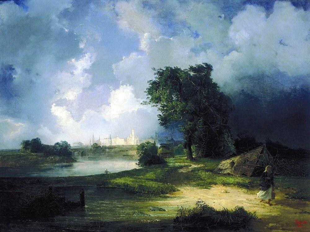 View of the Kremlin from the Krimsky Bridge in Inclement Weather - Aleksey Savrasov